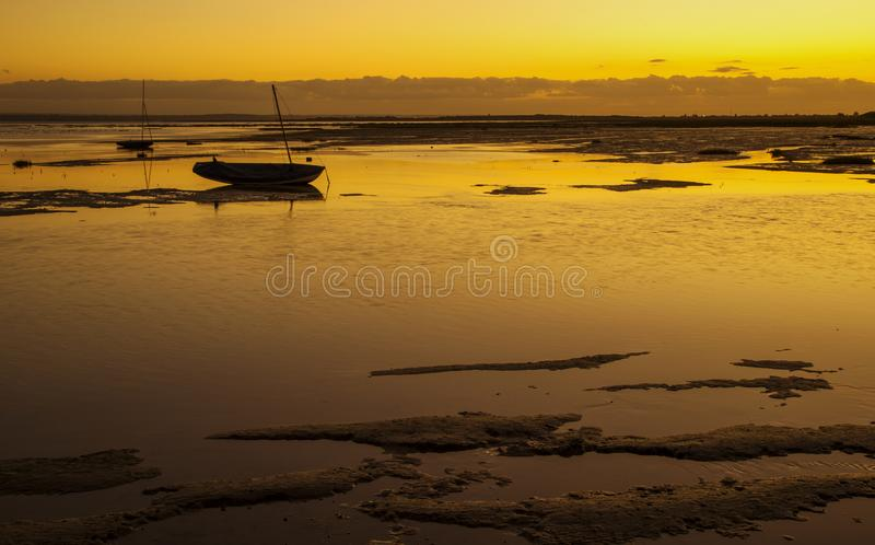 Заход солнца на Leigh на море, Essex, Англии стоковые изображения rf
