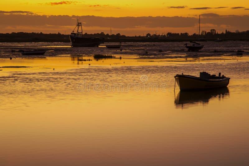 Заход солнца на Leigh на море, Essex, Англии стоковая фотография rf
