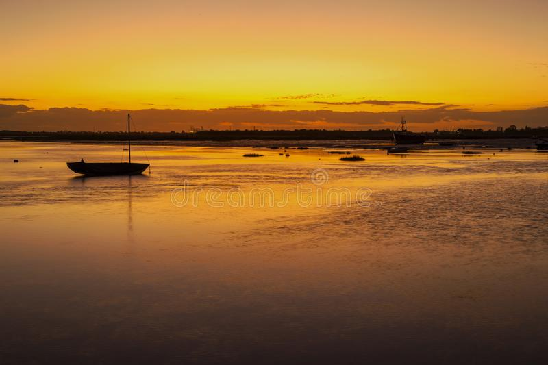 Заход солнца на Leigh на море, Essex, Англии стоковая фотография