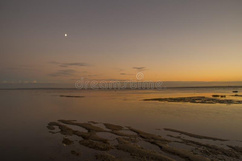 Заход солнца на Leigh на море, Essex, Англии стоковое изображение