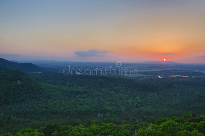 Заход солнца на River Valley стоковые фотографии rf