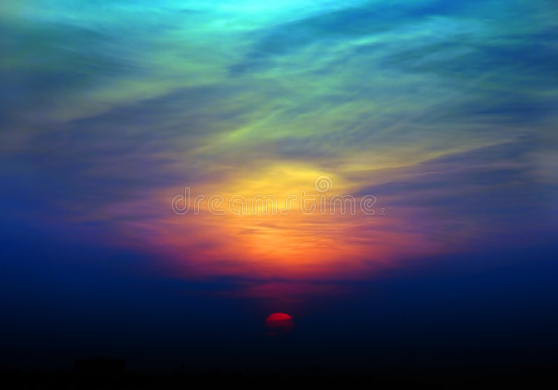 заход солнца неба стоковая фотография rf