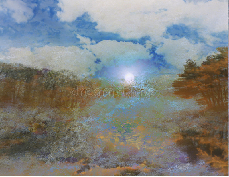 заход солнца озера иллюстрация вектора