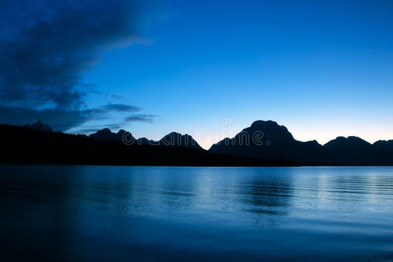 заход солнца озера jackson стоковая фотография