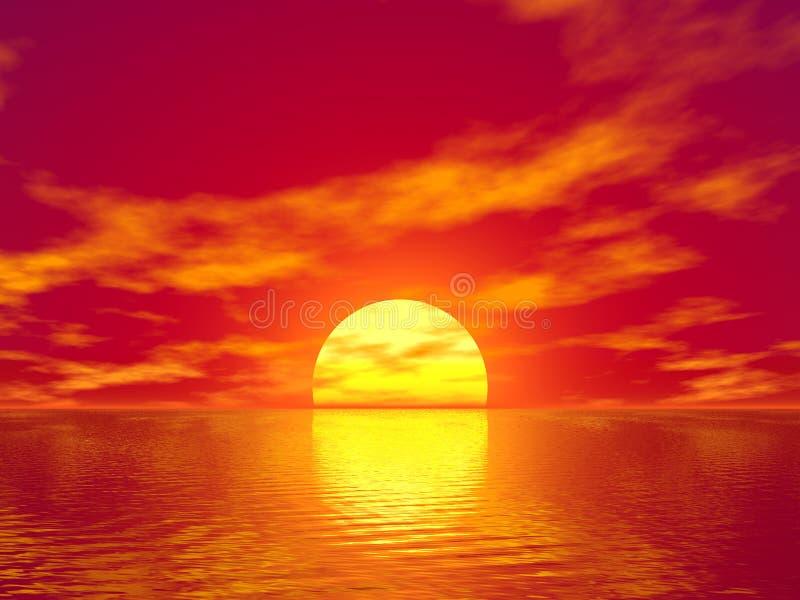 заход солнца океана иллюстрация вектора
