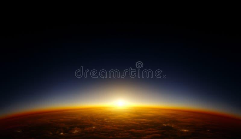 Заход солнца орбиты бесплатная иллюстрация