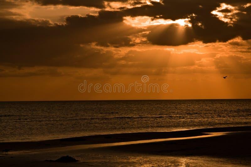 заход солнца острова медового месяца стоковая фотография rf