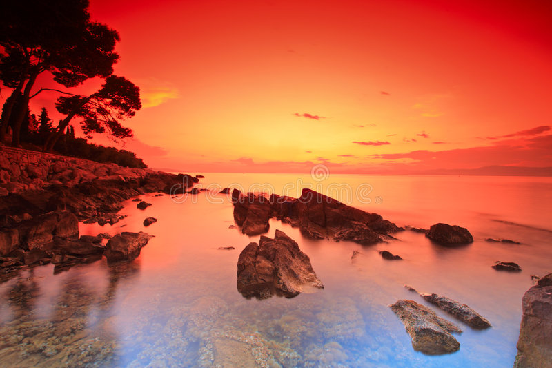 заход солнца острова brac стоковые фото