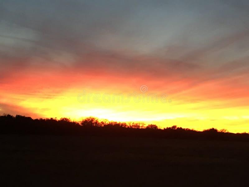 Заход солнца падения Техаса стоковые фотографии rf
