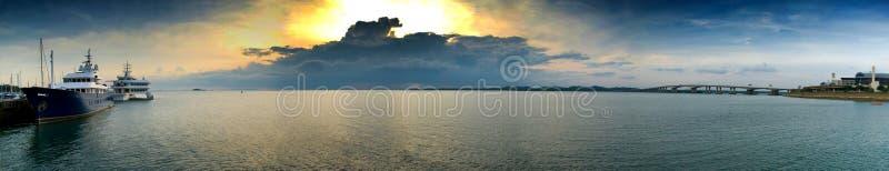 заход солнца панорамы стоковые фото