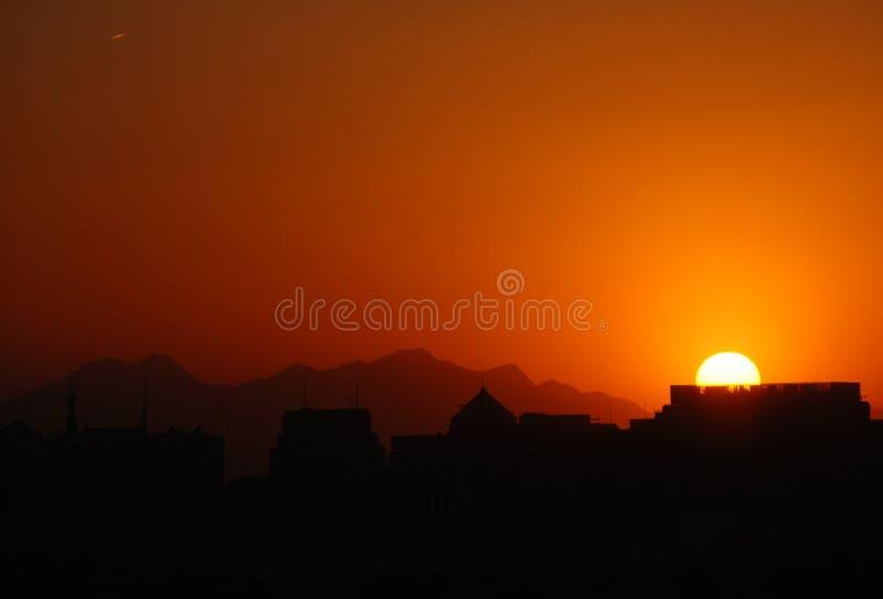 заход солнца Пекин стоковое фото rf