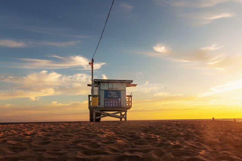 Заход солнца пляжа Венеции стоковое изображение