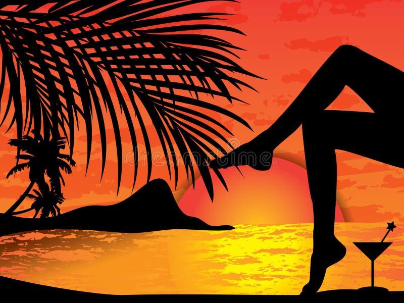 заход солнца пляжа тропический иллюстрация штока