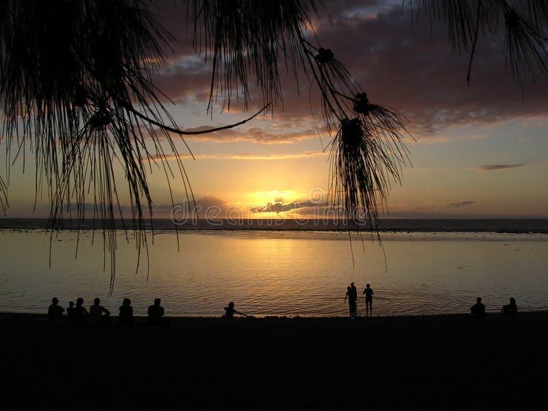 заход солнца пляжа стоковая фотография