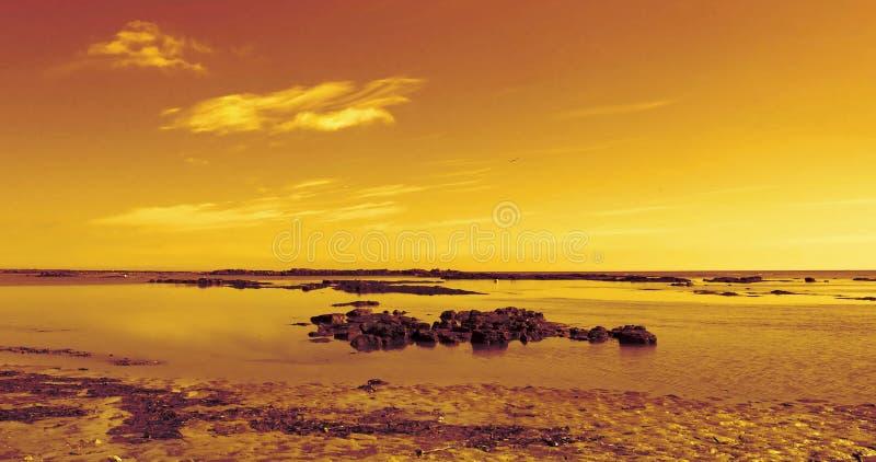 заход солнца пляжа стоковые изображения rf