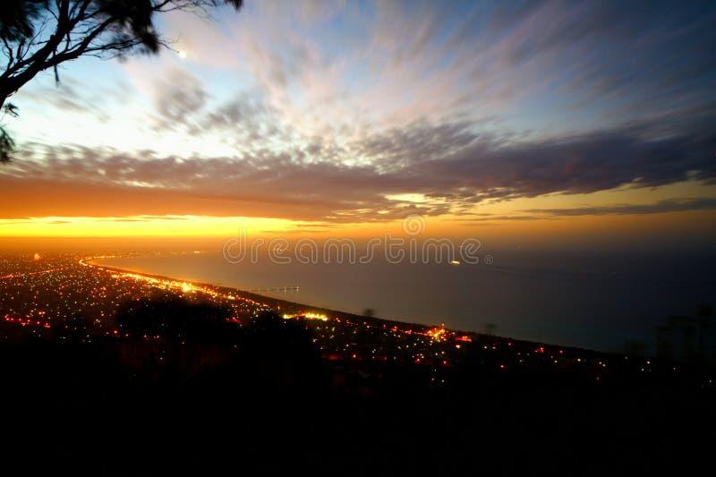 заход солнца полуострова mornington стоковое изображение rf