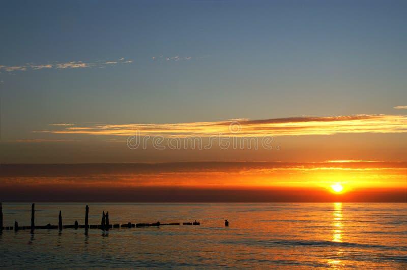 заход солнца Польши стоковое фото