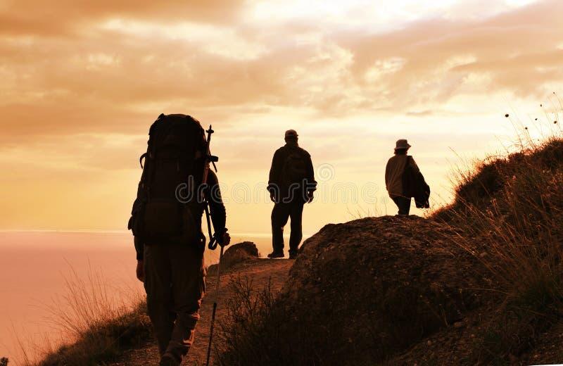 заход солнца похода стоковые фото