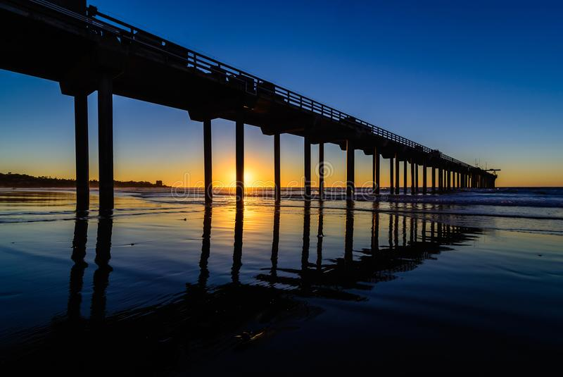 Заход солнца пристани Scripps стоковое фото rf