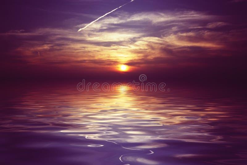 заход солнца пурпура ijsselmeer Голландии стоковое фото rf