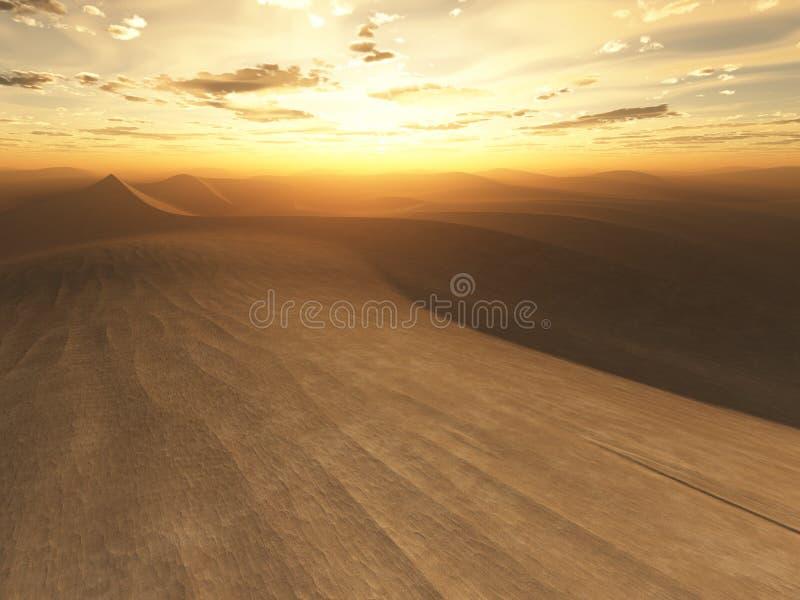 заход солнца пустыни иллюстрация вектора