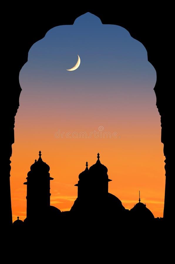 заход солнца Раджастхана дворца стоковое фото rf