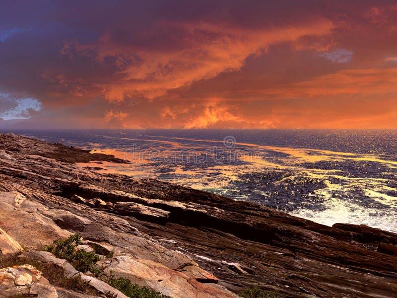 Заход солнца света пункта Pemaquid стоковое фото rf