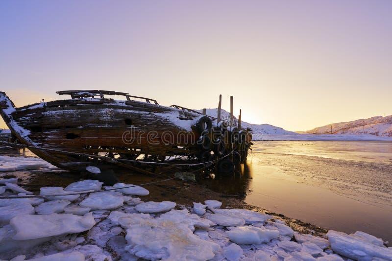 Заход солнца Северного океана стоковые фотографии rf