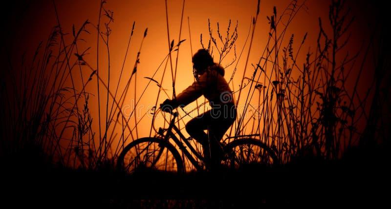 заход солнца силуэта велосипеда стоковое фото