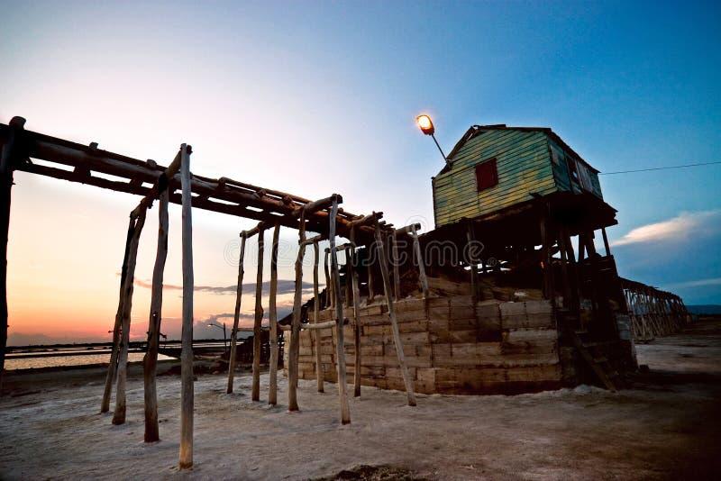 заход солнца соли шахты стоковые фотографии rf