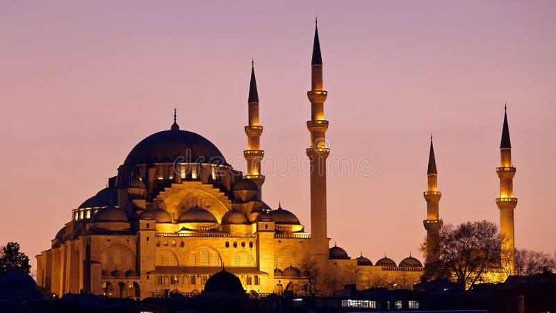 Заход солнца Стамбула мечети Suleymaniye стоковые изображения rf