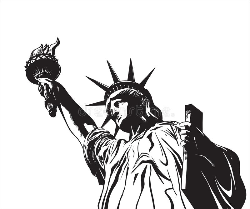 заход солнца статуи newyork вольности города бесплатная иллюстрация