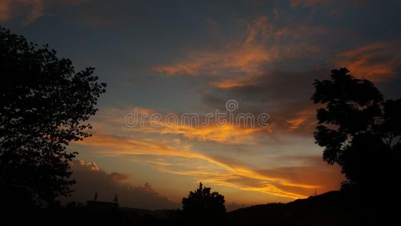 Заход солнца с золотыми облаками стоковое фото