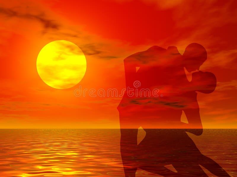 заход солнца танцульки иллюстрация вектора