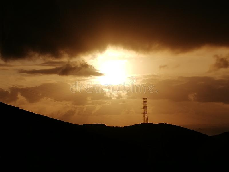 Заход солнца творения стоковые фотографии rf