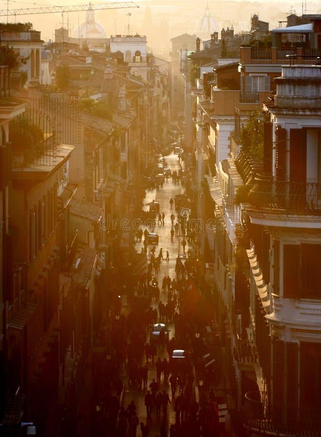 заход солнца улицы rome стоковая фотография
