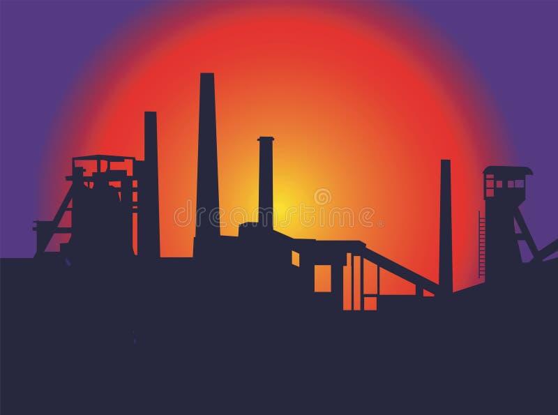 заход солнца фабрики бесплатная иллюстрация