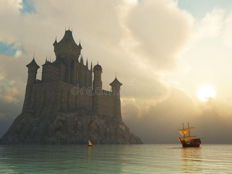 заход солнца фантазии замока иллюстрация вектора