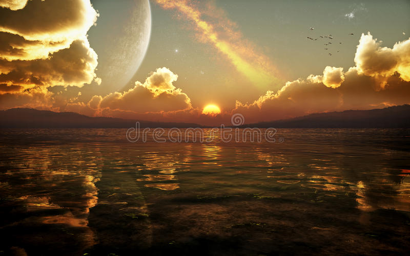 Заход солнца фантазии научной фантастики бесплатная иллюстрация