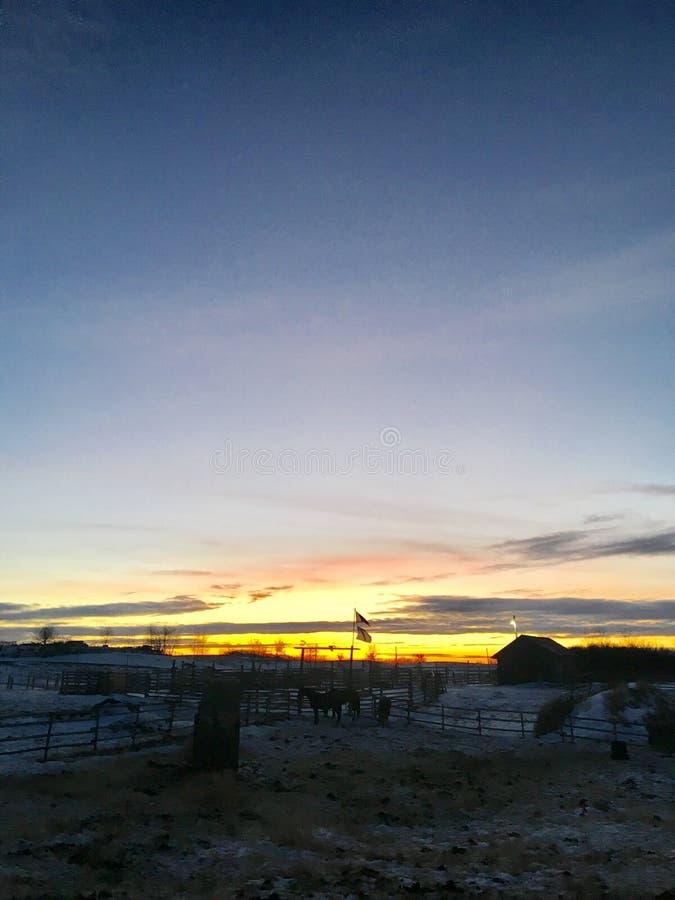 Заход солнца фермеров стоковое изображение rf