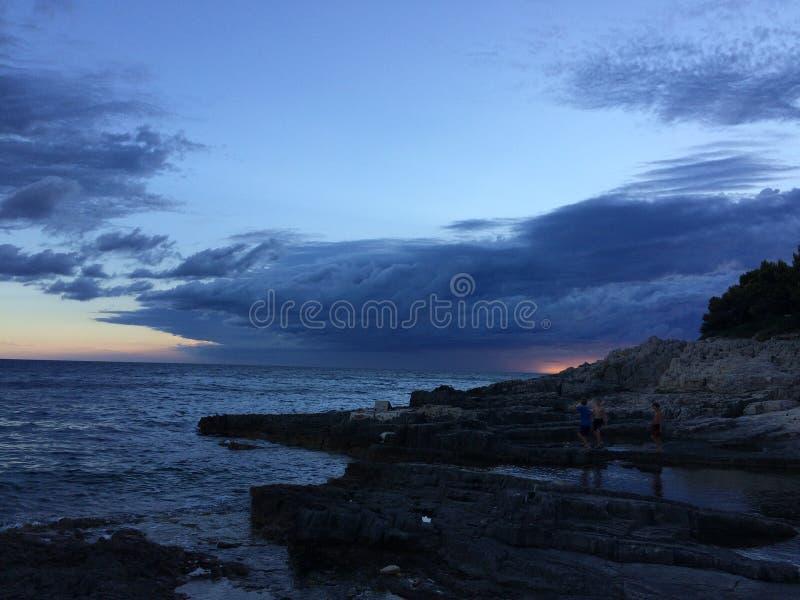 Заход солнца Хорватии стоковые изображения rf
