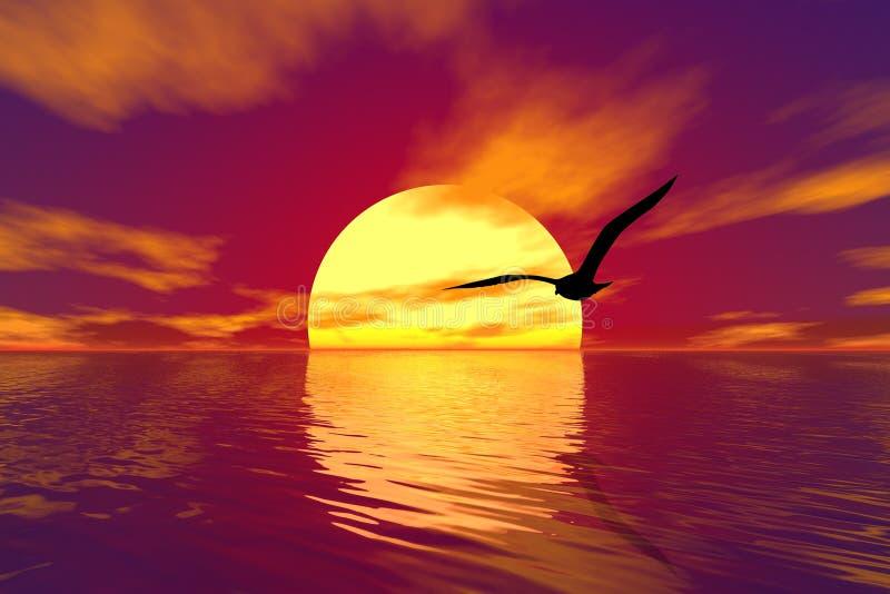 заход солнца чайки иллюстрация штока