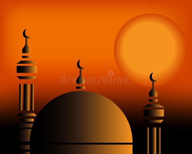 заход солнца 2 мечетей иллюстрация штока
