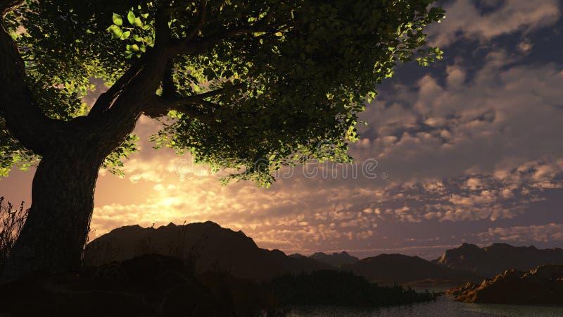 заход солнца 3d стоковое фото