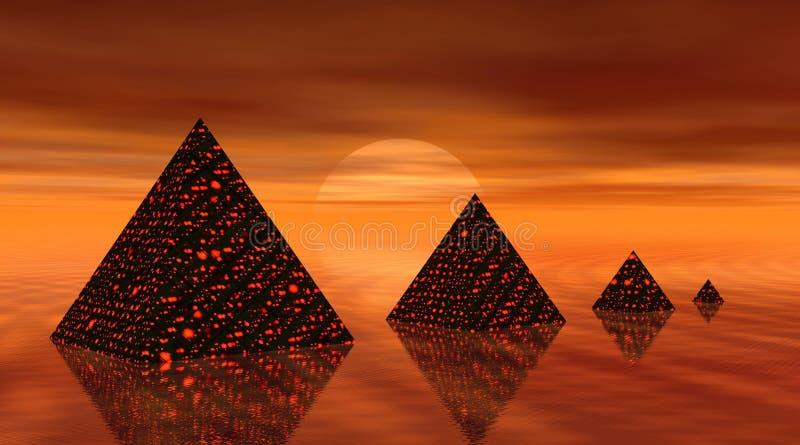 заход солнца 4 пирамидок иллюстрация вектора