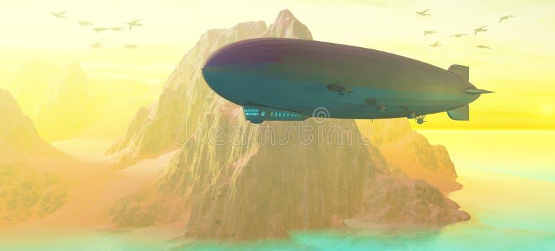 заход солнца airship иллюстрация штока