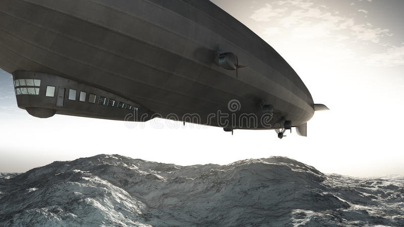 заход солнца airship иллюстрация вектора