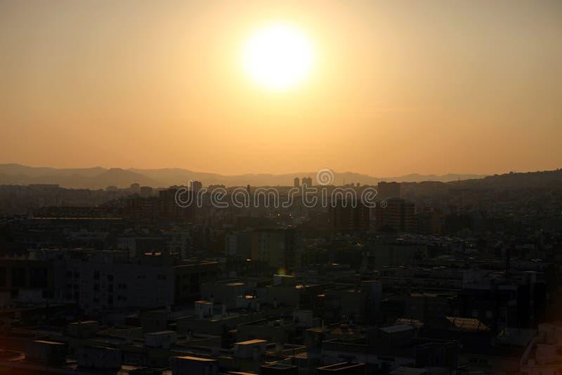 заход солнца barcelona стоковое фото rf