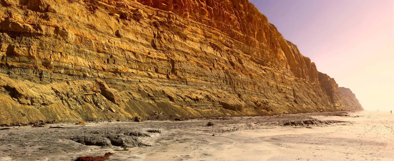 заход солнца california пляжа стоковая фотография