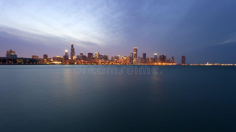 заход солнца chicago городской стоковая фотография rf